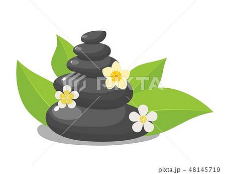 Stack of three black hot stones, 48145719