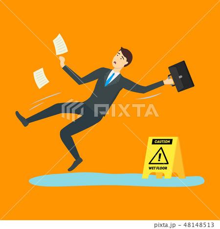 Cartoon Caution Wet Floor with Character Businessman. Vector 48148513
