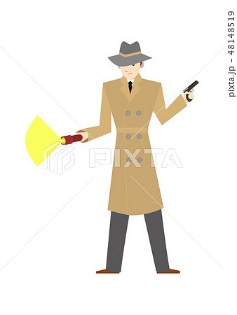 Cartoon Character Private Detective with a Gun. Vector 48148519