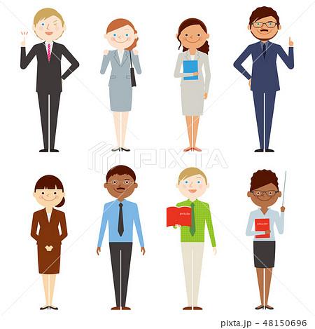外国人 全身 男女 働く人々 セットのイラスト素材 48150696