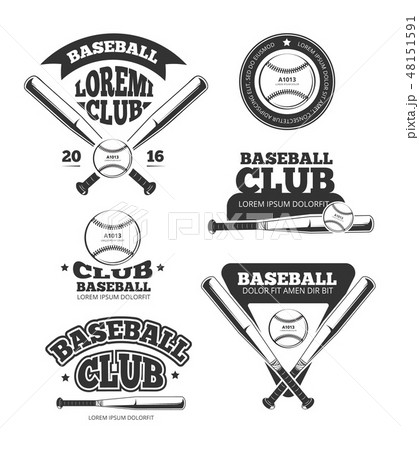 Vintage baseball sports, old vector logos and labels set with bats and softball 48151591