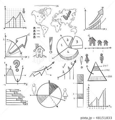 Population demography doodle vector infographic with hand drawn charts, pie graphs, diagrams, world 48151833