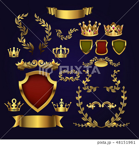 Golden vector heraldic elements. Kings crowns, laurel wreath and royal shield for 3d labels and 48151961