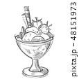 描画 ワッフル いちごのイラスト 48151973