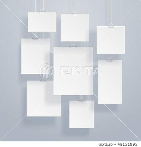 Blank white image and photo frames on wall vector illustration 48151995