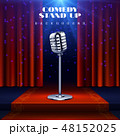 Comedy Stand up vector background with retro microphone on stage and red curtain 48152025