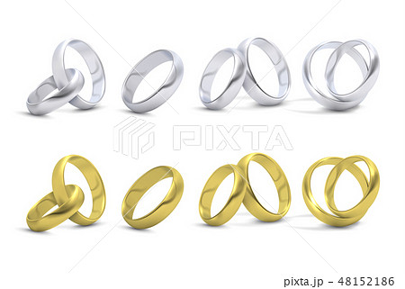 Gold and silver wedding, engagement rings isolated on white vector illustration 48152186