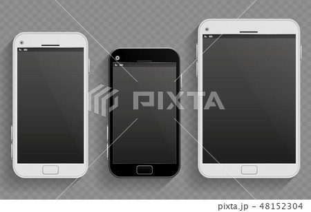 Touch screen mobile phones, smartphones in different size and tablet vector realistic templates 48152304