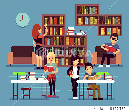 Studying students in library interior with books and bookshelves vector illustration 48152522