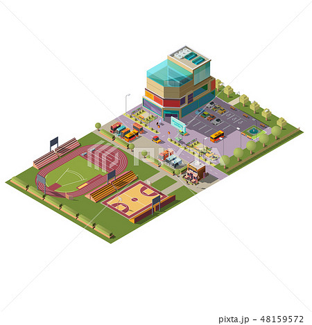 Supermarket and sport stadiums isometric vector 48159572