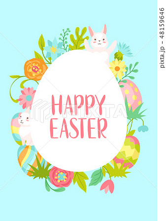 Happy Easter greeting card. 48159646