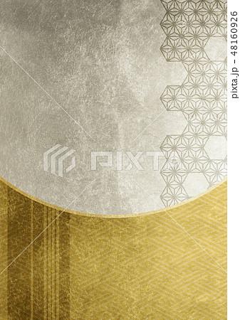 ライン 紗綾形 麻の葉 箔 金銀 イメージ (背景素材) 48160926