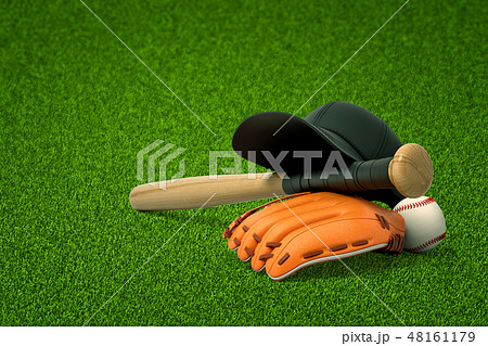 3d rendering of baseball bat, ball and gloves on green field background 48161179