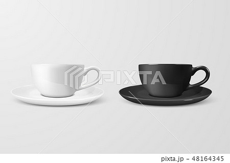 Realistic Vector 3d Blank White and Black Coffee Tea Cup, Mug Icon Closeup Isolated on White 48164345