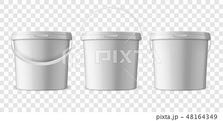 Vector Realistic 3d White Plastic Bucket for Food Products, Paint, Foodstuff, Adhesives, Sealants 48164349
