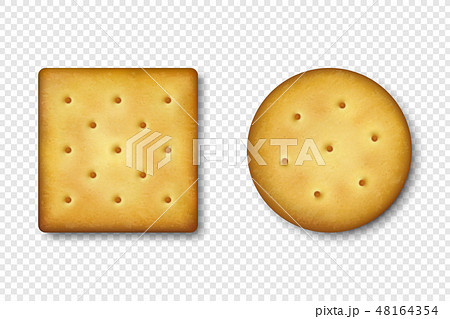 Realistic Vector 3d Round and Square Delicious Salty Cookies Rustic, Cracker, Biscuit Icon Set 48164354