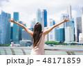 都市風景 女性 幸せの写真 48171859