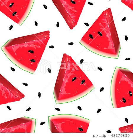 Pieces of red watermelon on seamless background. 48179330
