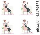 女性 スマホ スマートフォンのイラスト 48179678