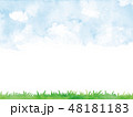 空 芝生 背景のイラスト 48181183