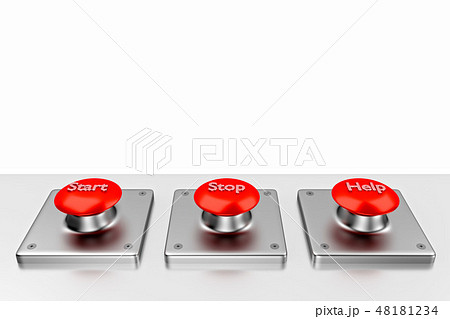 3D rendering. Red web buttons with start, stop, help. 48181234