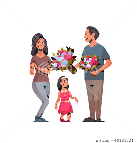 man giving bouquet of flowers to wife and daughter international womens day 8 march concept happy 48181621