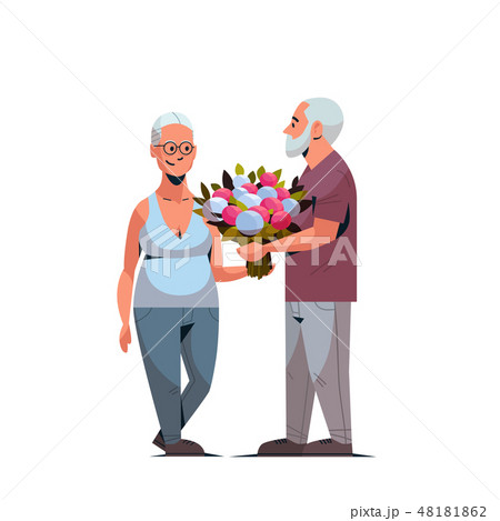 senior man presenting bouquet of flowers to elderly woman international happy womens day 8 march 48181862