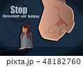 怖がる 恐怖 女性のイラスト 48182760