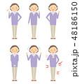 シニア 女性 全身のイラスト 48186150