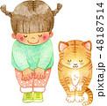水彩 白バック 女の子のイラスト 48187514