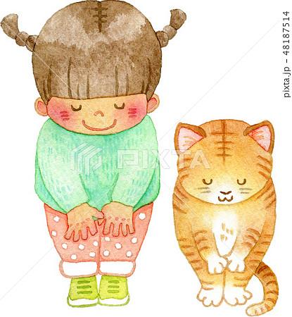 おじぎする猫と女の子 48187514