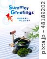 暑中見舞い 日本庭園 金魚のイラスト 48189202