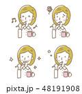 歯磨き【線画・シリーズ】 48191908