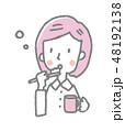 女性 歯ブラシ 歯磨きのイラスト 48192138