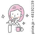女性 歯ブラシ 歯磨きのイラスト 48192139