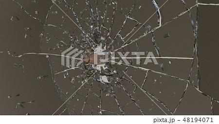 Bullet shatters the glass . 3D render 48194071