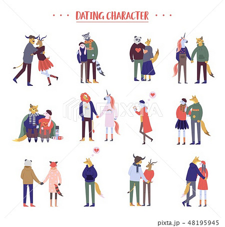 Flat cartoon happy romantic couples walking together on white background. Standing single lonely 48195945