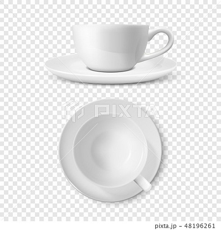 Realistic Vector 3d Glossy Blank White Coffee Tea Cup, Mug Set Closeup Isolated. Design Template of 48196261