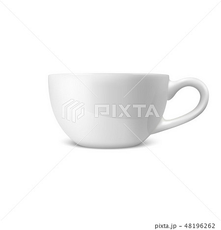 Realistic Vector 3d Glossy Blank White Coffee Tea Cup, Mug Icon Closeup Isolated on White Background 48196262