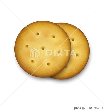 Realistic Vector 3d Round Delicious Salty Cookies Rustic, Cracker, Biscuit Set Closeup Isolated on 48196264