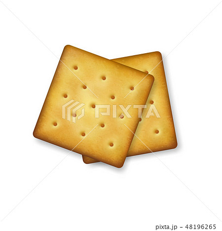 Realistic Vector 3d Square Delicious Salty Cookies Rustic, Cracker, Biscuit Set Closeup Isolated on 48196265