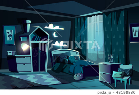 Child sleeping in bed in bedroom cartoon 48198830