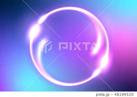 Fantastic background with neon round frame 48199320