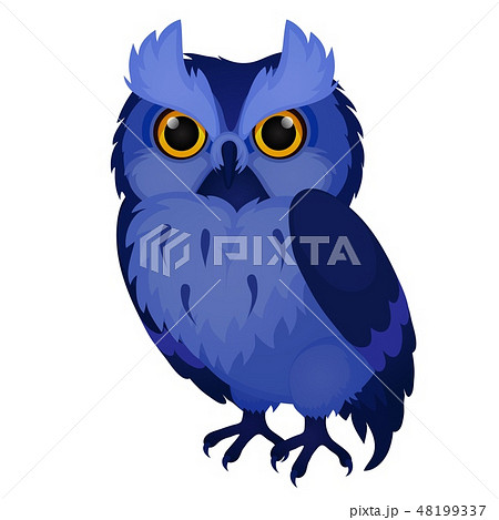 Wise blue owl isolated on white background. Vector cartoon close-up illustration. 48199337