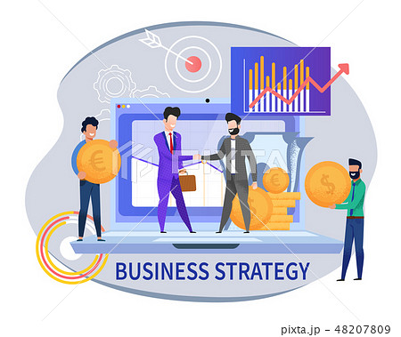 Flat Banner Business Strategy on White Background 48207809