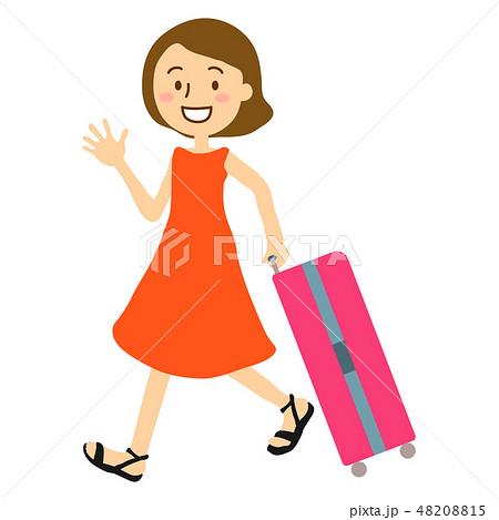 夏休み大人女性スーツケース全身 48208815