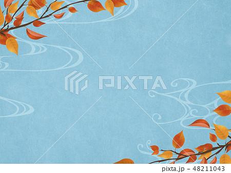 背景素材-和紙-新緑-植物-薄藍-流水紋 48211043