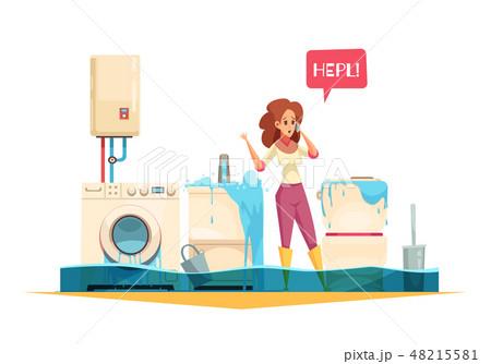 Plumber Emergency Cartoon Composition  48215581