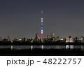 トリコロールライティングのスカイツリーと東京のスカイライン 48222757