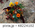 Wedding bouquet in a bright autumn style. On the background of stone rocks. Marigold flowers 48224102